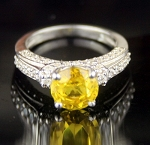 Diamond Engagement Ring 4.25 Ct Yellow Diamond Round Shape Sterling Silver Engagement